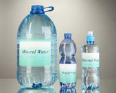Different water bottles with label on grey background — Stock fotografie