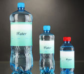 Different water bottles with label on grey background — Stok fotoğraf