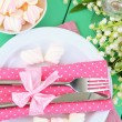 Table setting in white and pink tones on color  wooden background - Foto de Stock