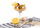 Cocktail of mussels in vase isolated on white — Stock Photo