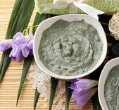 Composição com argila cosméticos para tratamentos de spa, no fundo do bambu — Foto Stock