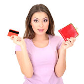 Young girl with credit card isolated on white — Stock Photo