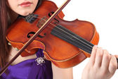 Beautiful young girl with violin, isolated on white — Stock Photo