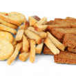 Different kinds of crackers, isolated on white — Stock Photo