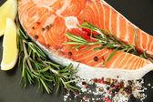 Fresh salmon steak on pan, close up — Stock Photo