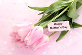 Beautiful bouquet of pink tulips for Mother's Day — Stok fotoğraf