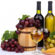 Barrel, bottles and glasses of wine, cheese and grapes, isolated on white — Stock Photo #23109796