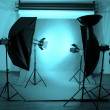 Photo studio with lighting equipment — Stock Photo #23111058