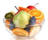 Glass bowl with fruit for diet isolated on white — Stock Photo