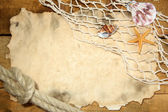 Eski kağıt, net ve ahşap masa ipte balık tutma — Stok fotoğraf