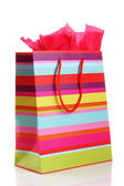 Striped shopping bag isolated on white — Foto Stock