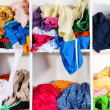 Stock Photo: Clothing scattered on shelves