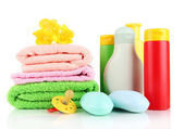Baby cosmetics, towels and soap, isolated on white — Fotografia Stock