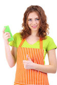Young housewife with sponge, isolated on white — Stock Photo