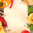 Paper for recipes, spaghetti with vegetables and spices, on sacking background — Stock Photo #23187088