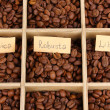 Coffee beans in wooden box close-up — Stock Photo #23187168