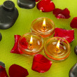 Spa stones with rose petals and candles in water on plate — Stock Photo #23187546