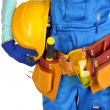Male builder in blue overalls with yellow helmet isolated on white — Stock Photo