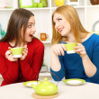 Two girl friends talk and drink tea in kitchen — Stock Photo #23188866