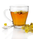 A cup of tea with immortelle isolated on white — Stock Photo