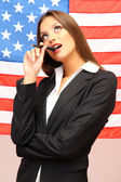 Young woman with American flag — Stock Photo