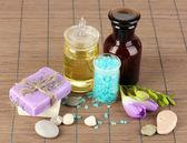 Prachtige wellness instelling op bamboe tabel close-up — Stockfoto