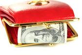 Cartera con billetes de cien dólares, aislado en blanco — Foto de Stock