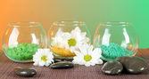 Mořská sůl v různých barvách v skleněných nádob na světlé pozadí — Stock fotografie