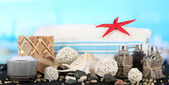 Spa composition mat on sea background — Foto Stock