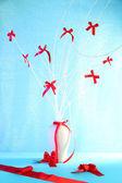Komposition från rosetter på blå bakgrund — Stockfoto