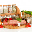 Composition of raw meat, vegetables and spices isolated on white — Stock Photo #23191120