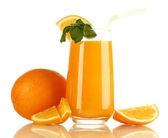 Glass of orange juice with mint and orange isolated on white — Stock Photo