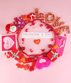 Circular composition Valentine's Day on pink background — Stock Photo