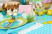 Serving Easter table on room background — Stock Photo