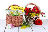 Two baskets freesia on light background — Stock Photo