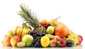 Assortiment van exotische vruchten geïsoleerd op wit — Stockfoto