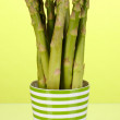 Fresh asparagus in colorful pot on green background - Stock Photo