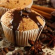 Tasty muffin cakes with chocolate, spices and coffee seeds, close up — Stock Photo #23325870