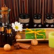 Ingredients for soap making on brown background — Stok Fotoğraf #23326046