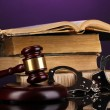 Stock Photo: Gavel, handcuffs an