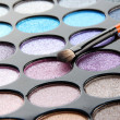 Eye shadows and brush close-up - Stock Photo