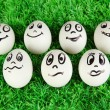 Eggs with funny faces on grass — Photo