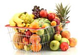 Assortment of exotic fruits in metal basket isolated on white — Stock Photo