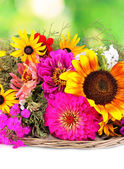 Güzel doğa zemin üzerine parlak çiçek buketi — Stok fotoğraf