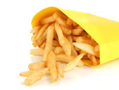 French fries in paper bag isolated on white — Stock Photo