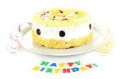 Happy birthday cake, isolated on white — Stock Photo