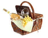 Picnic basket with grape and bottle of wine, isolated on white — Foto de Stock