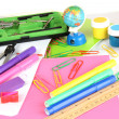 Various school supplies close-up isolated on white — Stock Photo #23376634