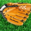 Baseball glove on grass background — ストック写真