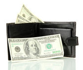 Wallet with hundred dollar banknotes, isolated on white — Stock Photo